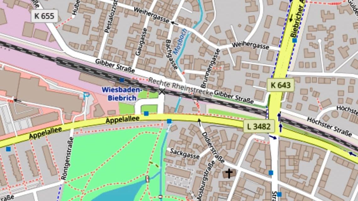 Gibber Straße in Wiesbasden Biebrich. @2020 Openstreetmap