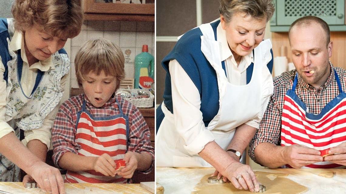 Lindenstraße, Exakt 27 Jahre liegen zwischen diesen beiden Fotos: Helga (Marie-Luise Marjan) und Klaus (Moritz A. Sachs) Beimer beim weihnachtlichen Plätzchenbacken in der Küche Beimer. Bild: WDR/Steven Mahner
