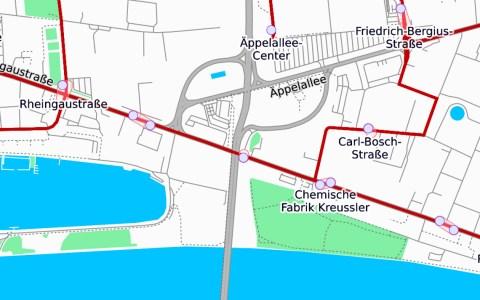 Vollsperrung, Schiersteiner Brücke ©2020 Openstreetmap