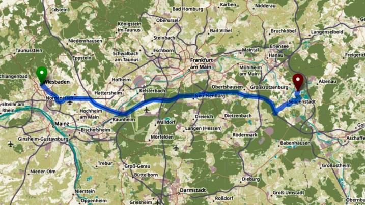 Wiesbaden - Kahl am Main, 50 Minuten, 70 Kilometer