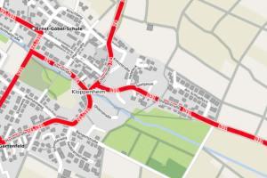 Karte: Vollsperrung der Stiegelstraße in Kloppenheim
