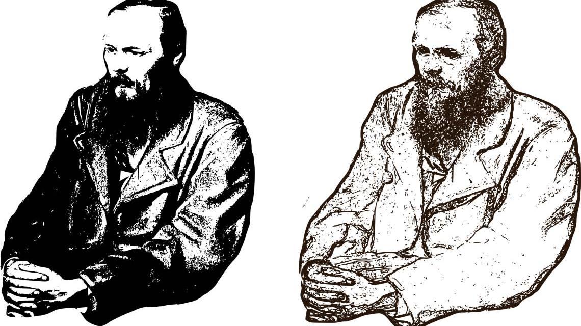 Fjodor Dostoevsky gespiegelt, jung und alt