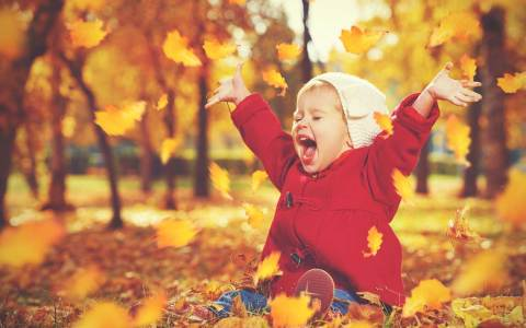 Herbst, Herbstanfang, kleines Kind freut sich über bunte Blätter.