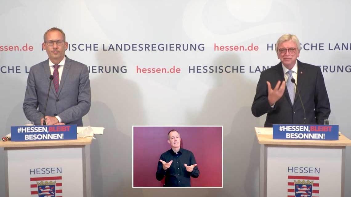 Kai Kklose und Volker Bouffier stellen die neuen Corona.Regeln vor.