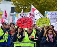 Warnstreik in Wiesbaden: Banker gehen auf die Straße. Warnstreik in Wiesbaden. ©2021 Volker Watschounek