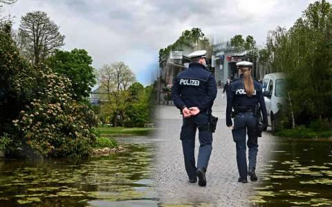 Stadtpolizei patroliert am Warmen Damm