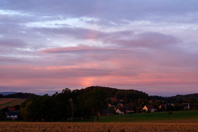 Regenbogen, Sonnenaufgang, Schönbach, Oberdorf, 1.10.2019