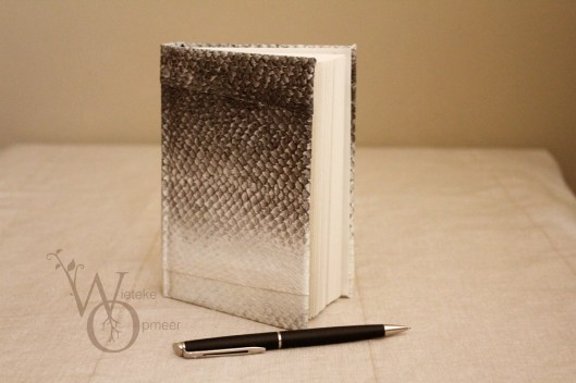 blank notebook with naturally hand tanned fishleather cover