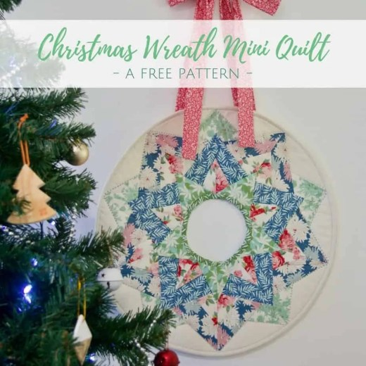 Free Christmas Wreath Mini Quilt Pattern by Wife-made