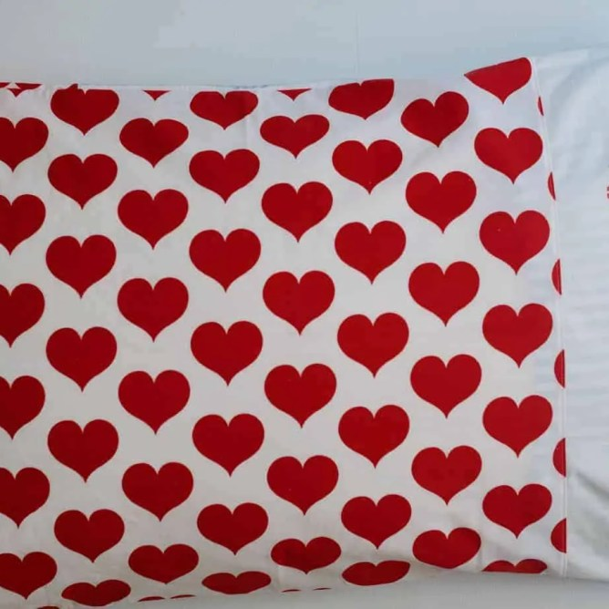 Wife-made vintage pillowslip - blue stripes & red hearts