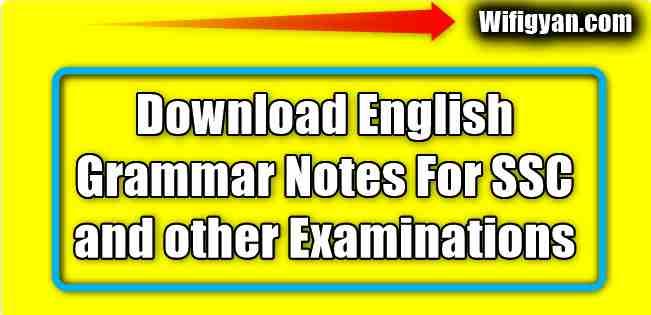 English Grammar Hand Written Notes Free Pdf Download