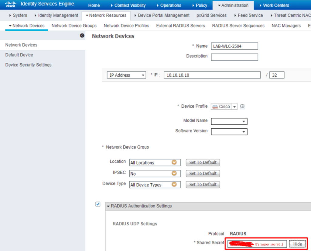 RADIUS key configured in Cisco ISE