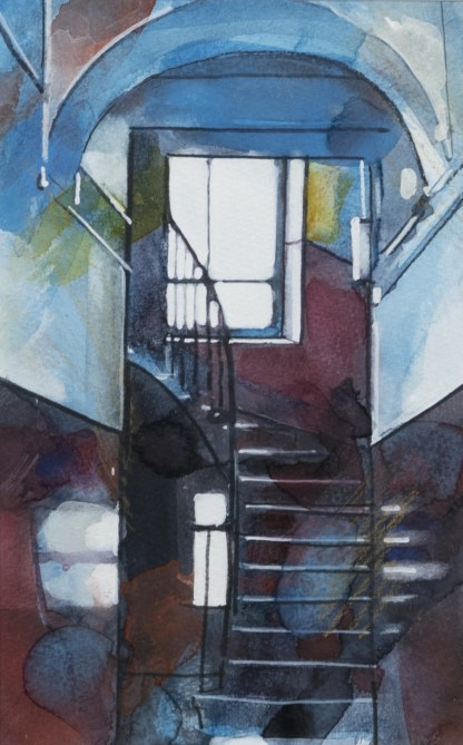 Bryan Evans Glasgow Artist Watercolour Stairs