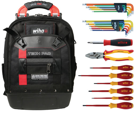Full view of the Wiha RedStripe 30-Piece Tool Kit as a table top view.