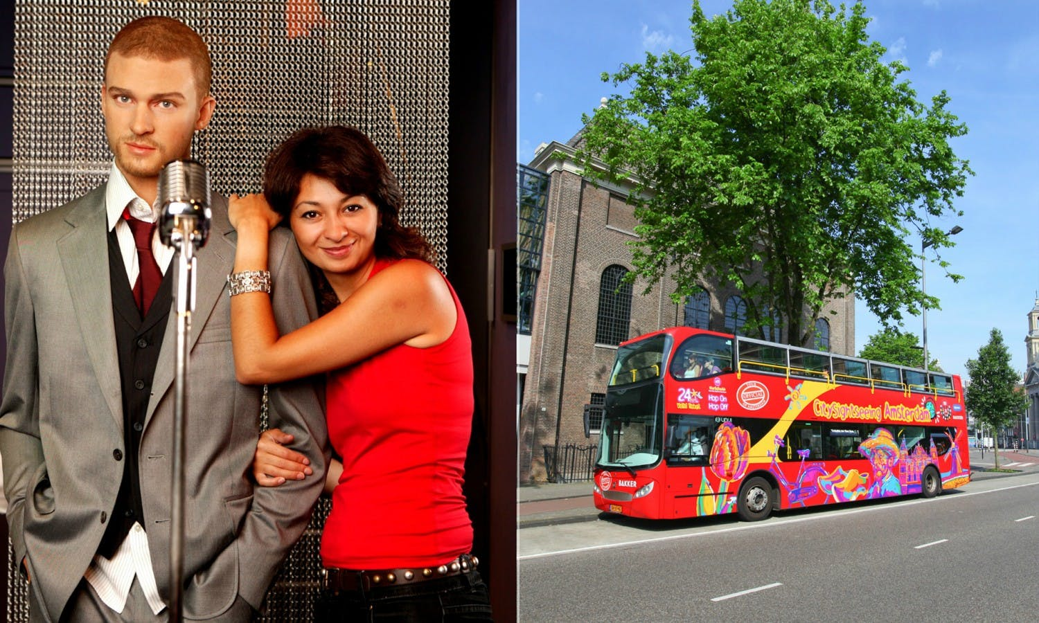 Amsterdam Madame Tussauds fast track entry and 24-hour hop-on-hop-off bus ticket