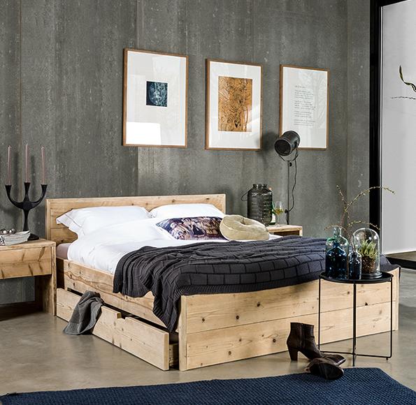 Steigerhout bed met lades