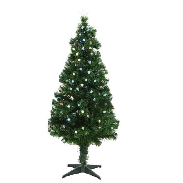 Fiber glasvezel kunst kerstboom/kunstboom groen 120 cm met verlichting