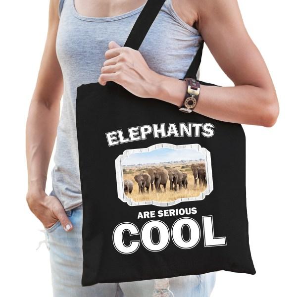 Dieren kudde olifanten tasje zwart volwassenen en kinderen - elephants are cool boodschappentasje