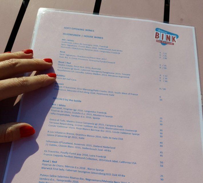 Bink rooftop bar en restaurant: wijnkaart