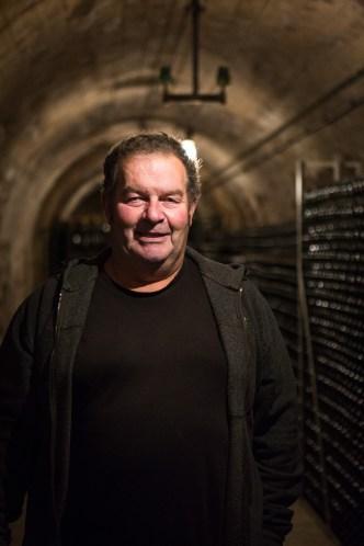 Patrice Pertois in zijn cave, tien meter onder de grond