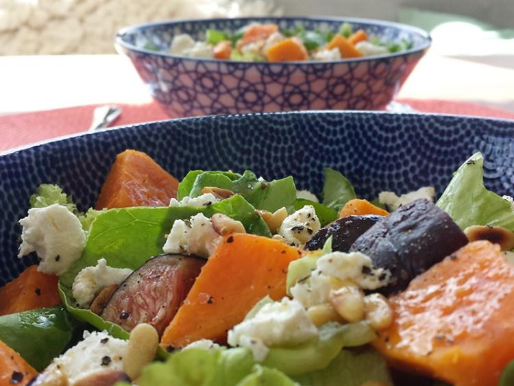 Lente salade zoete aardappel vijgen
