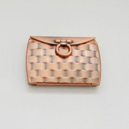 Luxusné kozmetické zrkadielko do kabelky. Farba- medená. Rozmer: 6cm x 8,5cm.