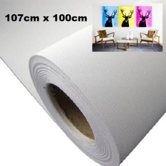 Maliarske plátno na rolke. Farba- biela. Zloženie- 100% polyester. Gramáž- 260g/m2 Rozmer: 107cm x 100cm.