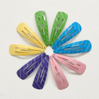Krásne sponky pukačky do vlasov kovové pre ženy a detíčky, pásikavý vzor, 10ks. Farba- mix. Rozmer: 4cm.