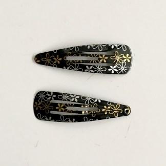 Krásne sponky pukačky do vlasov kovové s kvetinkami pre ženy a detíčky, 2ks. Farba- čierna. Rozmer: 4cm.
