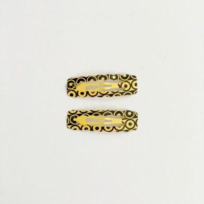 Krásne sponky pukačky do vlasov kovové s kruhmi pre ženy a detíčky, 2ks. Farba- žltá. Rozmer: 4cm.
