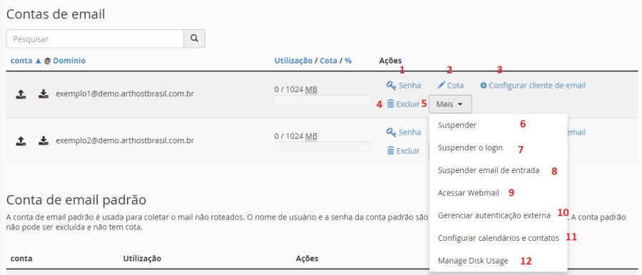 Contas de Email Lista de Emails Opções Arthost