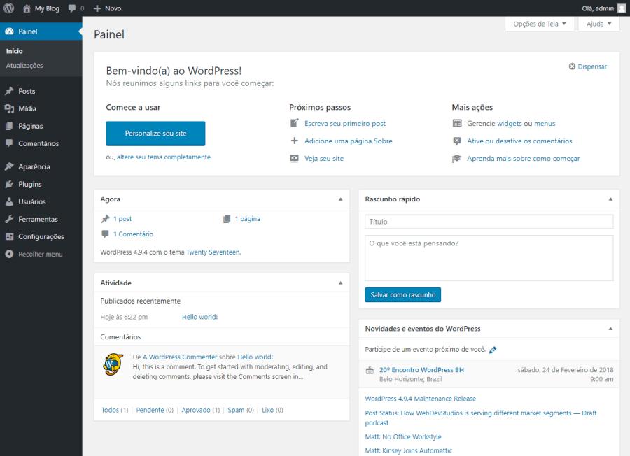Softaculous WordPress Pagina Administração Arthost