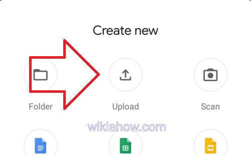 Google Drive Upload Menu