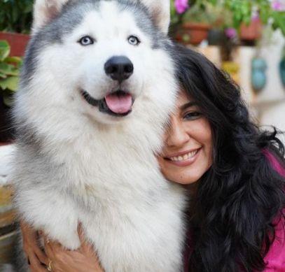 Mini Mathur with her Husky
