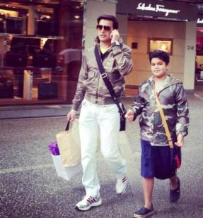 Jimmy Sheirgill with his son