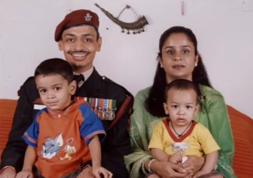 Deependra Sengar with his wife and children