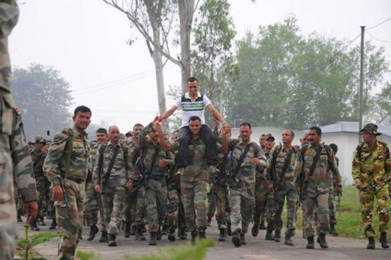 Deependra Singh Sengar lifted on the shoulder by his former troopmates