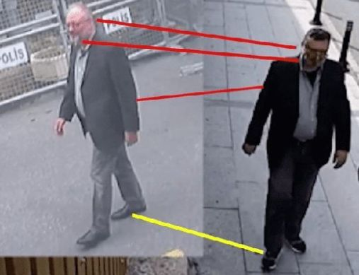Images from CCTV showing Jamal Khashoggi (left) and Mustafa al-Madani (rights; dressed in Jamal's clothes)