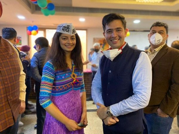 Mansi Sehgal with AAP MLA Raghav Chadha after joining the AAP
