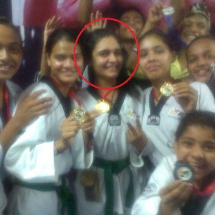 Mukti Gautam winning a taekwondo competition