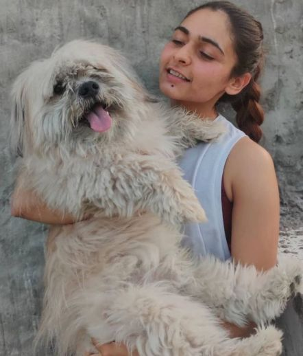 Mukti Gautam with her pet dog Teddy