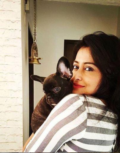 Nidhi Subbaiah with her pet