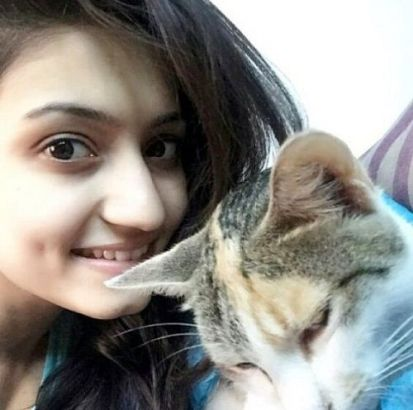 Vaishnavi Gowda and her pet cat