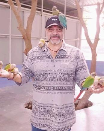 Sameer Rajda with birds