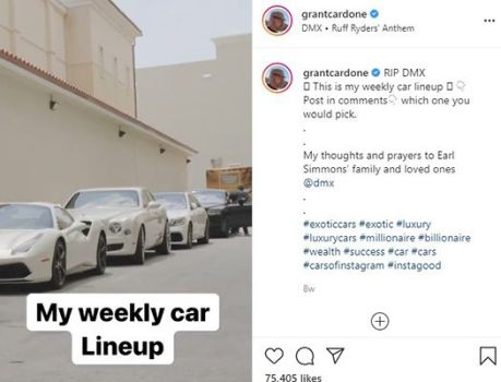 Grant Cardone's Instagram post about his cars