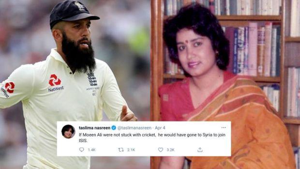 Taslima Nasrin's tweet on Cricketer Moeen Ali in 2021