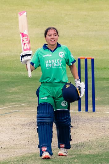 Amy Hunter after scoring an ODI century against Zimbabwe on her 16th birthday