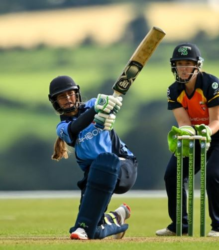 Amy Hunter playing a shot during her innings in Wicklow (Dublin)