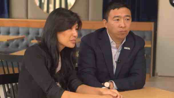 Andrew Yang with Evelyn Yang