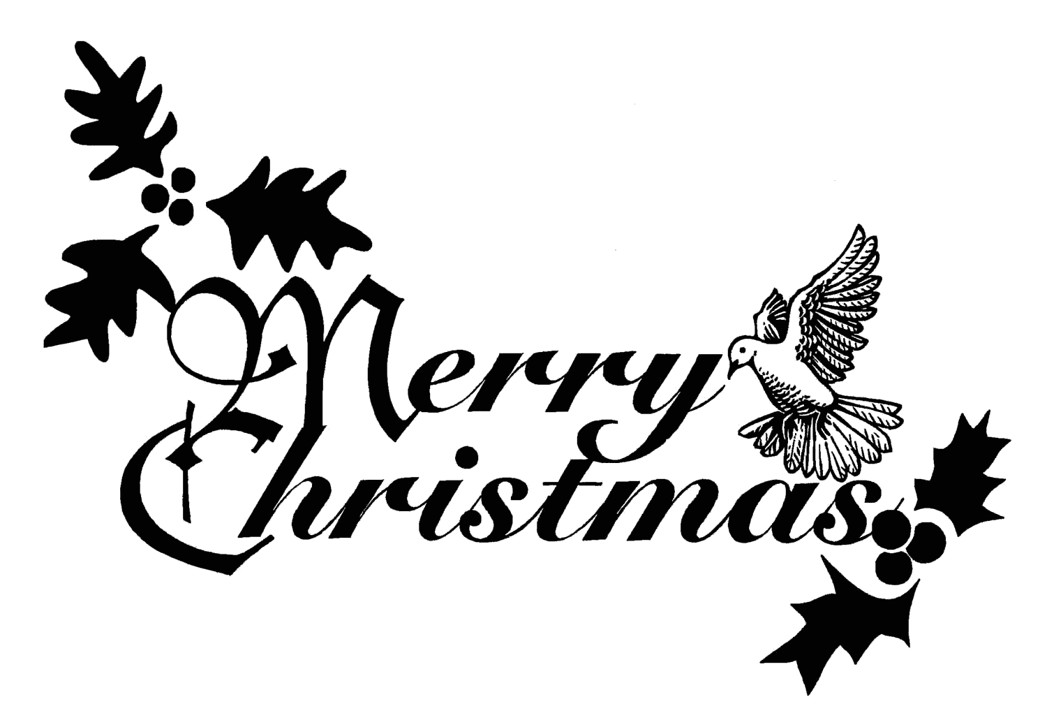 Christmas Black And White Merry Christmas Black White Clipart 2